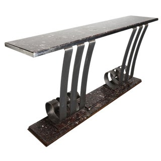 1930s Art Deco Style Marble & Stainless Steel Console Designed by Raymond Subes For Sale
