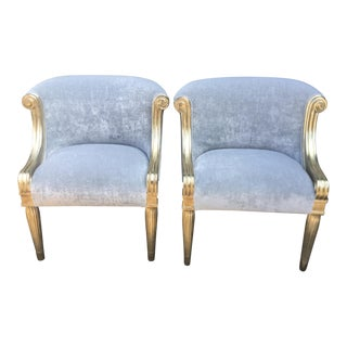 Nancy Corzine Designer Slipper Chairs W Donghia Upholstery - a Pair