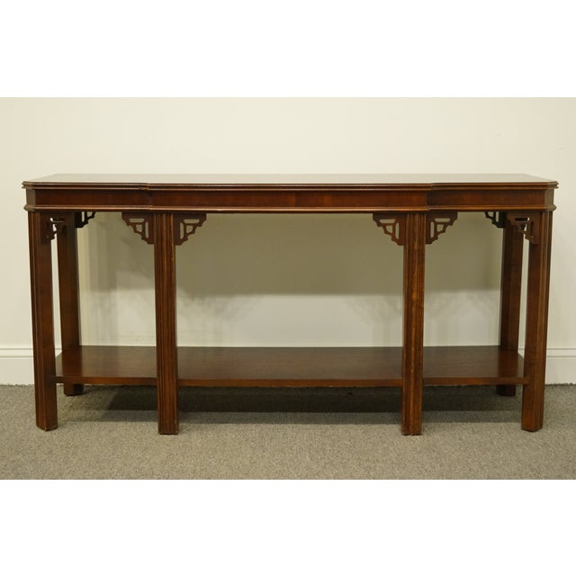 "Late 20th Century 20th Century Traditional Lane Furniture Altavista Bookmatched Banded Mahogany Mediterranean Style 54"" Accent Sofa/Console Table For Sale - Image 5 of 11"