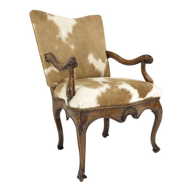 1770s Antique Italian Walnut Armchair Restored in Brazilian Cowhide - Image 1 of 10