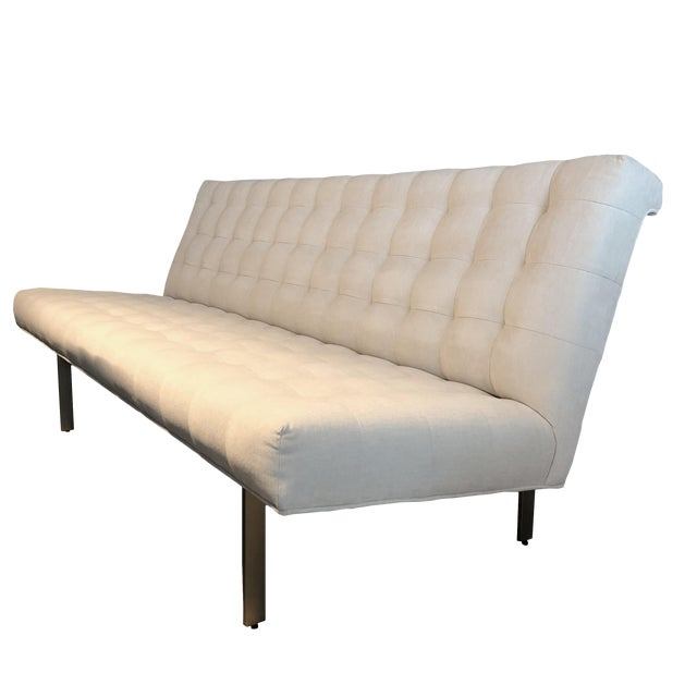 Modern Brushed Bronze Base Armless Sofa For Sale