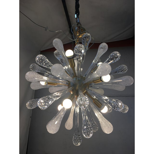 Chandelier Sputnik Brushed Gold Murano Glass For Sale - Image 9 of 11