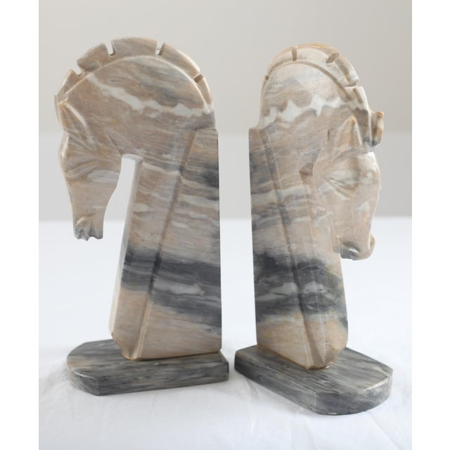 Mid-Century Onyx Horse Head Bookends - Pair - Image 4 of 7