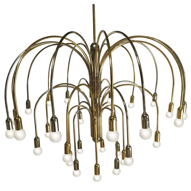 Large German Brass and Chrome Chandelier For Sale
