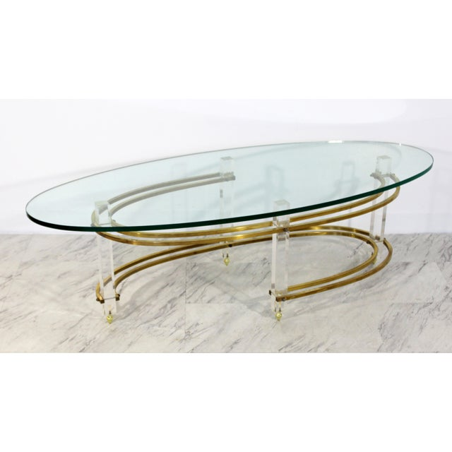 Mid Century Modern Brass Lucite Surfboard Coffee Table Hollis Jones 1970s For Sale - Image 9 of 9