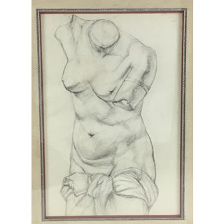 Academy Style Charcoal on Paper Nude Study, 1951 Preview