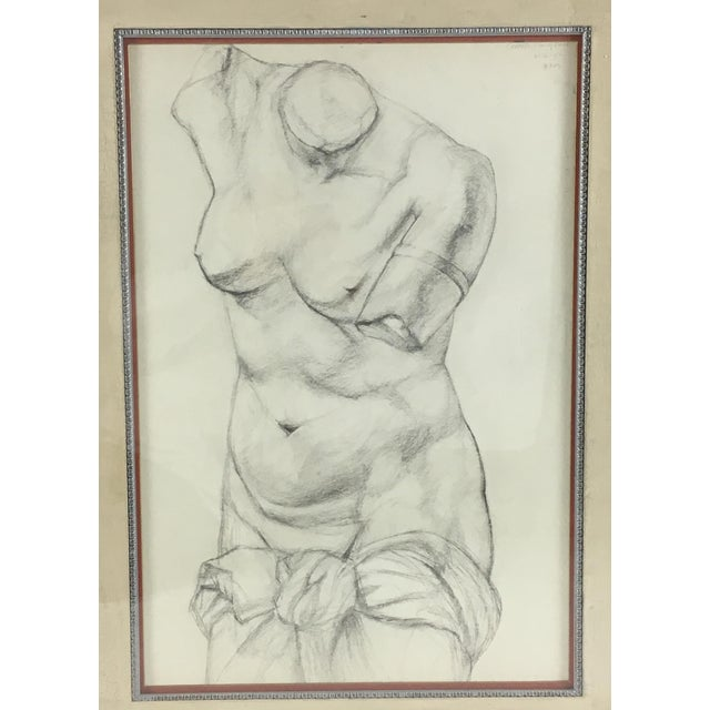 This is an Academy style charcoal on paper classical nude study. Signed and dated 1951, in a Classic style silver leafed...