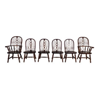 Ethan Allen Tavern Collection Dark Pine Windsor Dining Chairs - Set of 6 For Sale
