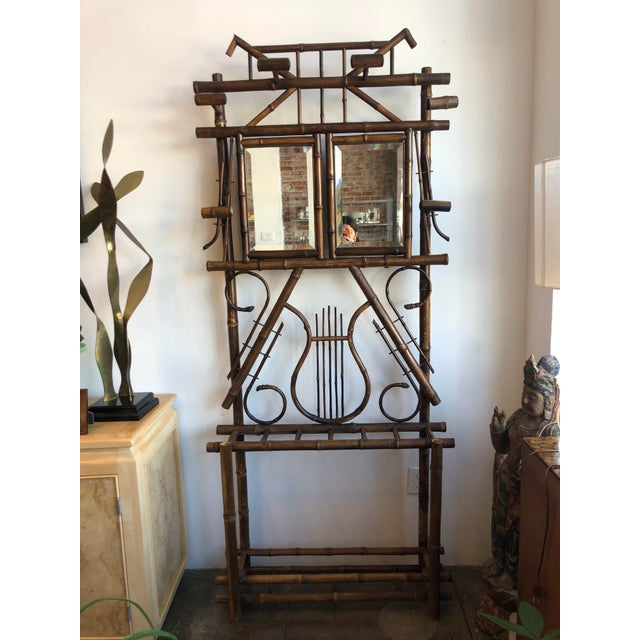 Antique English Bamboo Hall Stand For Sale - Image 11 of 11