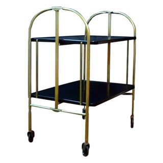 Mid-Century Modern Rolling Black & Gold Metal Cart