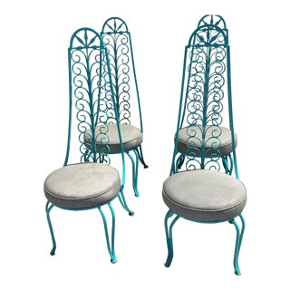1960's Turquoise Iron Chairs - Set of 4
