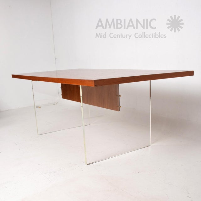 Mid-Century Danish Modern Teak and Lucite Dining Table For Sale In San Diego - Image 6 of 8