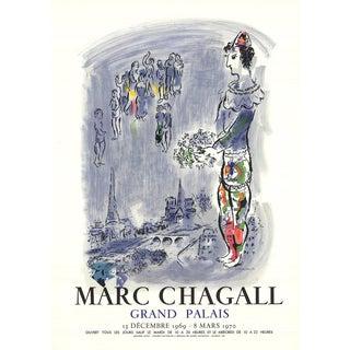"Marc Chagall the Magician of Paris 28"" X 20"" Lithograph 1970 Modernism Blue, Gray Magic, Magician, French, Eiffel, Paris For Sale"