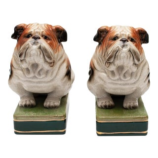 C. 1970s Japanese Crackle Glaze Ceramic Bulldogs Bookends - a Pair For Sale