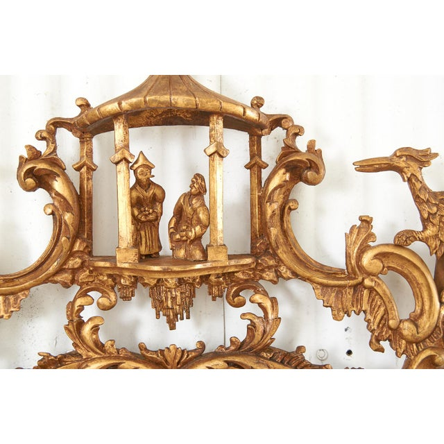 Pair of Chinese Chippendale Style Pagoda Mirrors With Ho Ho Birds For Sale - Image 10 of 13