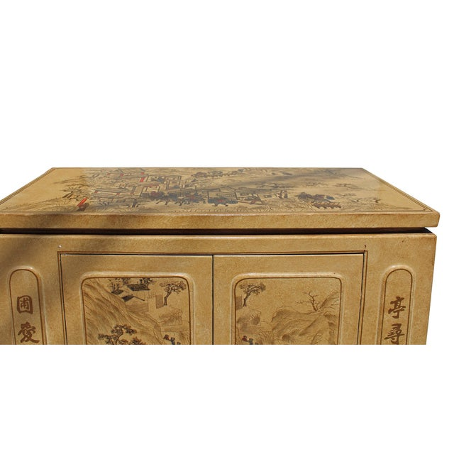 2010s Chinese Golden Beige Veneer Print Graphic Side Table Shoes Cabinet For Sale - Image 5 of 8