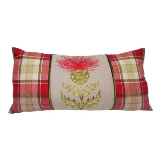 Red Thistle Lumbar Pillow For Sale