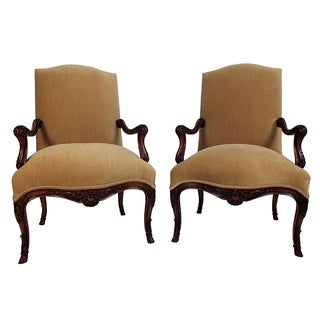 French Antique Louis XV Bergeres - Pair