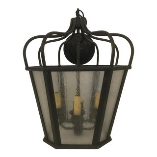 French Tudor Caged Glass Lantern For Sale
