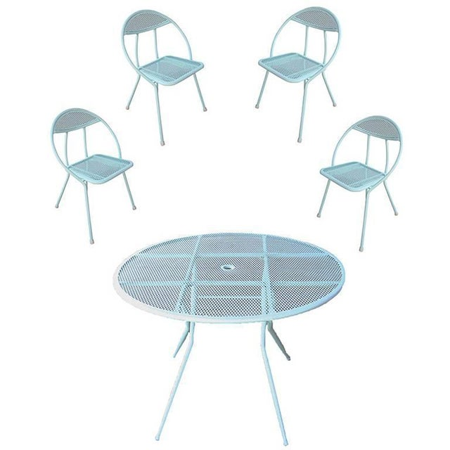 Teal Rid-Jid Steel Outdoor/Patio Dining Table With Chairs Set For Sale - Image 8 of 8