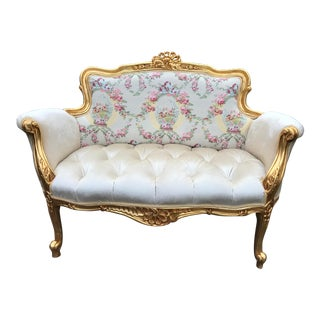 Contemporary Gold and White French Louis XVI Style Settee For Sale
