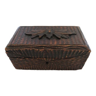 Small Carved English Box For Sale