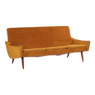Scandinavian Mid Century Modern Orange Sculpted Walnut Sofa circa 1960s