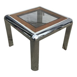 1970s Mid-Century Modern Chrome, Glass and Wood Side Table For Sale