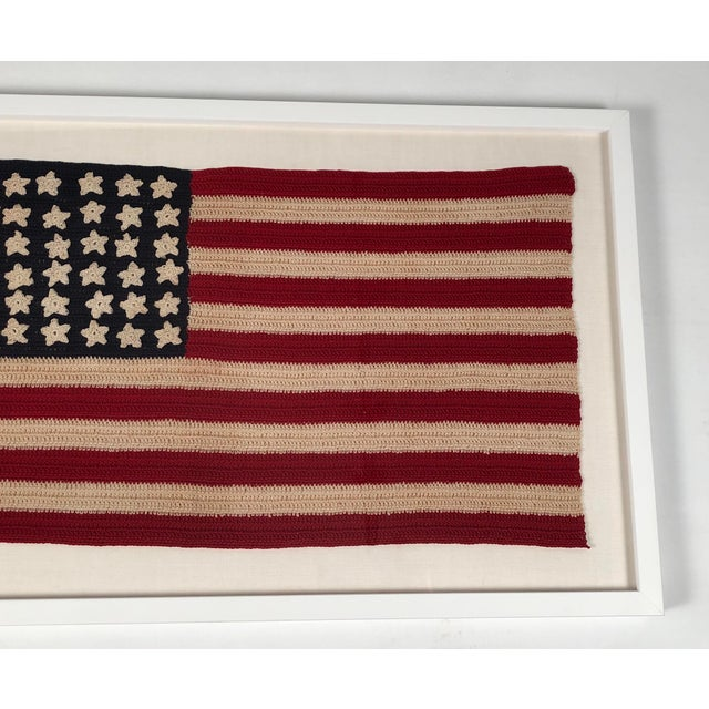 Small Vintage Hand Crocheted American Flag For Sale - Image 9 of 12