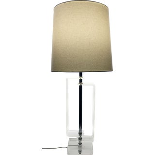 Vintage Lucite and Chrome Table Lamp For Sale