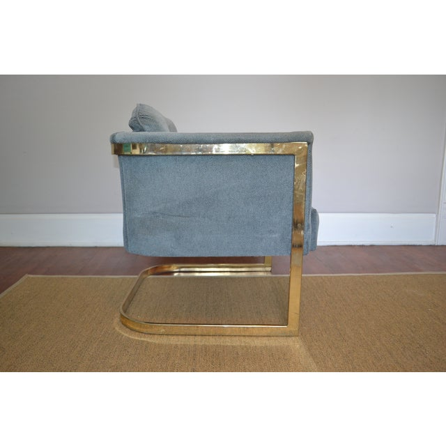 Milo Baughman Style Brass Frame Club Chair - Image 5 of 5