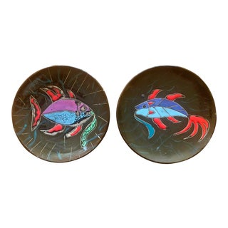 Pair Mid Century Modern Fish Painted Ceramic Plates For Sale