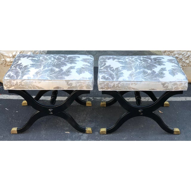 Pair of Charles X Style X Bench Footstools or Ottomans For Sale - Image 4 of 4