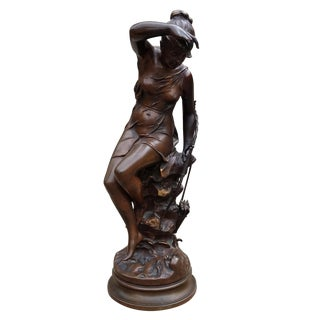 """Late 19th Century Vintage French Bronze """"Nymph De Diane"""" by Lucie Signoret For Sale"""