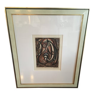 """Antique 1949 Mid-Century Abstract """" Ur Child Six"""" Bird Block Print Lithograph For Sale"""