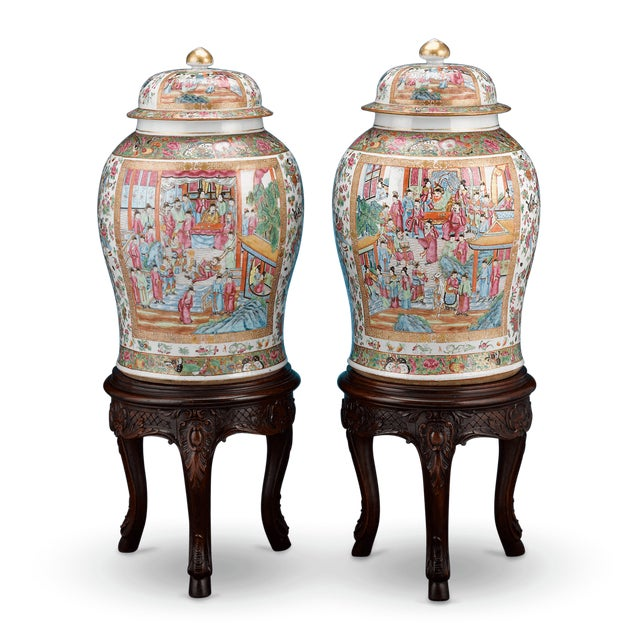 This enchanting pair of Chinese export rose medallion covered jars exhibits magnificent artistry and detail. Also known as...