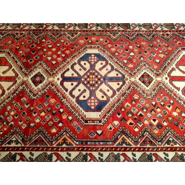 Cotton 1960s Vintage Persian Shiraz Tribal Carpet - 5′ × 9′8″ For Sale - Image 7 of 10