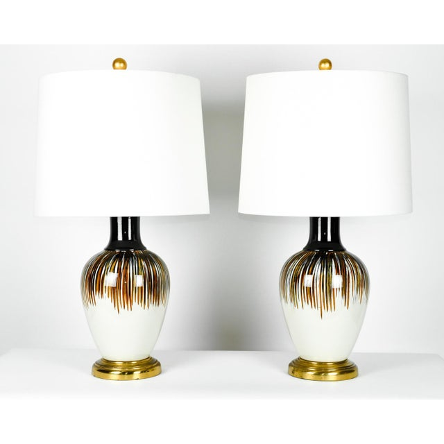 Vintage Porcelain Brass Base Table Lamps - A Pair For Sale - Image 11 of 11