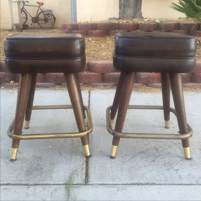 Vintage MCM Bar Stools With Brass Feet - Pair - Image 2 of 4