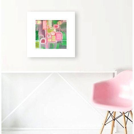 Pink & Green Abstract Painting by Linnea Heide - Image 2 of 4