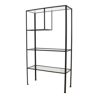 50s Frederick Weinberg Iron and Glass Etagere - Vintage Minimalist Shelves For Sale