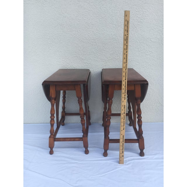 Traditional Small Miniature Drop Leaf Side Tables- a Pair Early 20th Century Vintage For Sale - Image 3 of 13