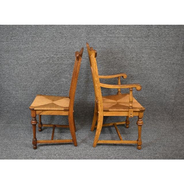Vintage Tiger Oak Fiddle Back Chairs- Set of 6 For Sale - Image 6 of 11