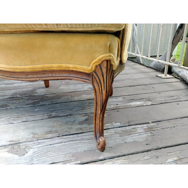 Vintage Meyer Gunther Martini Louis XV Carved Hardwood Bergere French Chairs- a Pair For Sale - Image 9 of 13