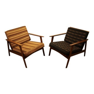 Pair of Mid-Century Danish Modern Walnut Lounge Arm Chairs