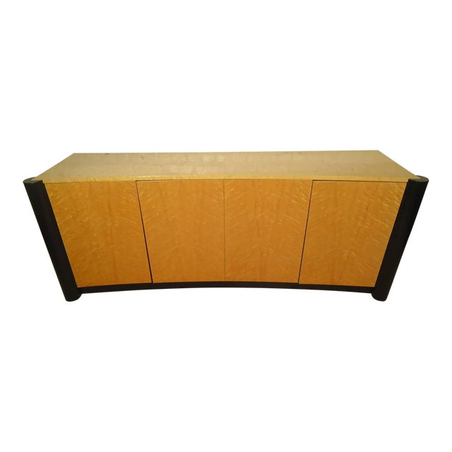 Curved Front Burl Wood Sideboard - Image 1 of 8