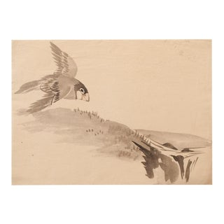 19th Century Meiji Era Japanese Sparrow Flying Watercolor Painting For Sale