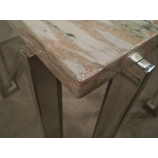 Chrome & Marble Occasional Table - Image 5 of 5