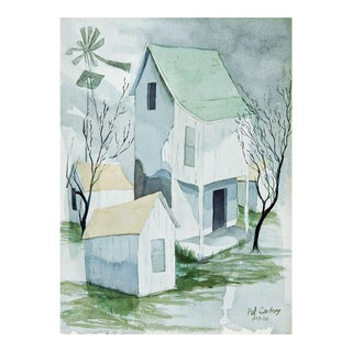 Modernist Rustic Farmhouse Watercolor Painting For Sale