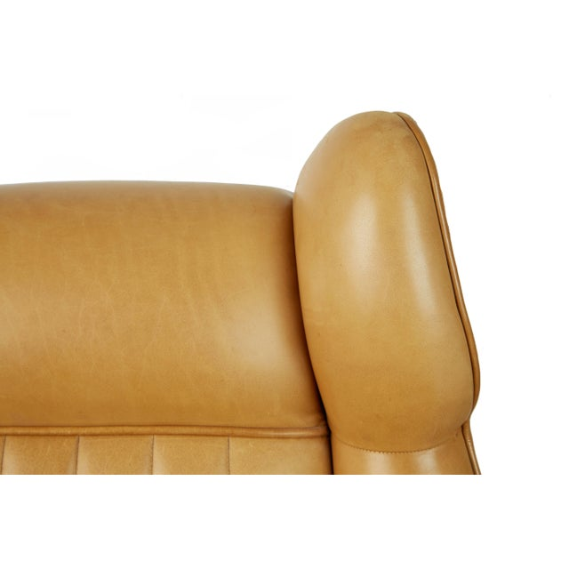 Gold 1960s Vintage Gigi Radice for Minotti Italian Leather Wingback Chairs- A Pair For Sale - Image 8 of 10